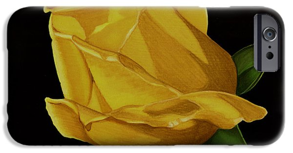 Flora Drawings iPhone Cases - Mothers Yellow Rose iPhone Case by Cory Still