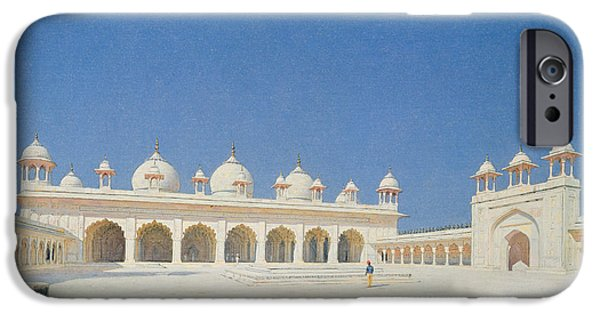 Pearls iPhone Cases - Moti Masjid, Agra, 1874-76 Oil On Canvas iPhone Case by Vasili Vasilievich Vereshchagin
