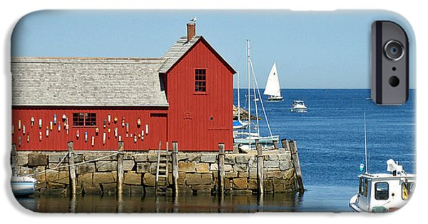 Sailboat Ocean iPhone Cases - Rockports Motif #1 iPhone Case by Jean Hall