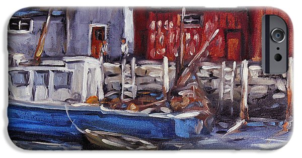 Canadiens Paintings iPhone Cases - Motif I - Wharf Scene  iPhone Case by Richard T Pranke