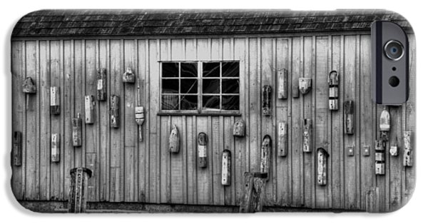 Fishing Shack iPhone Cases - Motif no 1 Fish Shack in black and white iPhone Case by Joann Vitali