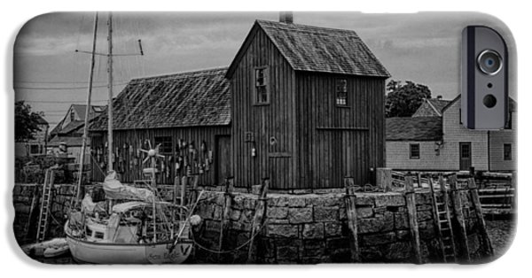 Fishing Shack iPhone Cases - Motif Number 1 - Rockport Harbor BW iPhone Case by Stephen Stookey