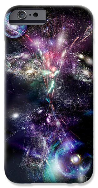 Stellar Mixed Media iPhone Cases - Motion of space iPhone Case by Dt