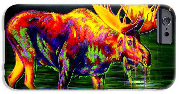 Featured Paintings iPhone Cases - Motley Moose iPhone Case by Teshia Art
