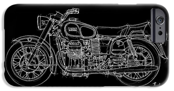 Bicycle Drawings iPhone Cases - Moto Guzzi Ambassador 1969 iPhone Case by Pablo Franchi