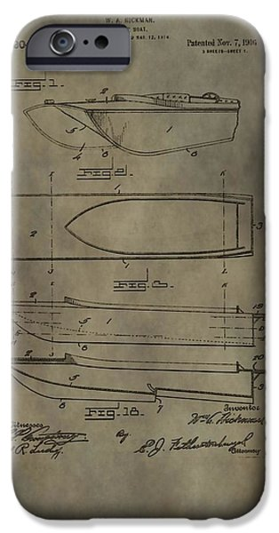 Boat Mixed Media iPhone Cases - Motor Boat Patent iPhone Case by Dan Sproul