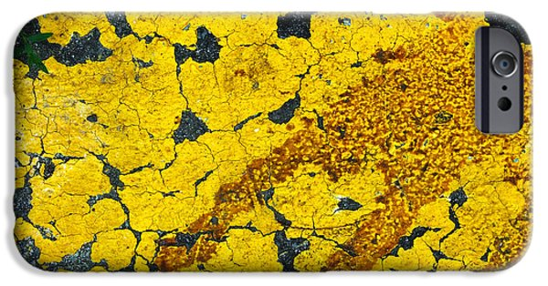 Oil Slick iPhone Cases - Motor Oil on Yellow iPhone Case by Robert Knight
