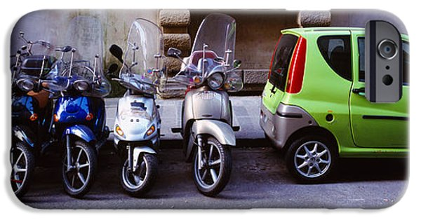 Land Vehicle iPhone Cases - Motor Scooters With A Car Parked iPhone Case by Panoramic Images