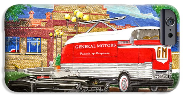 Concept Art Drawings iPhone Cases - Motorama General Motors mobile showroom  on tour iPhone Case by Jack Pumphrey
