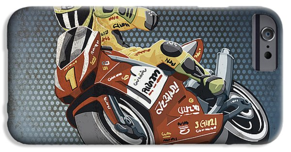 Driver iPhone Cases - Motorbike Racing Grunge Color iPhone Case by Frank Ramspott