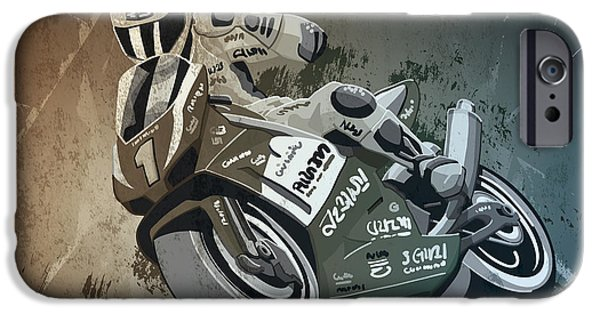 Dirty iPhone Cases - Motorbike Racing Grunge Monochrome iPhone Case by Frank Ramspott