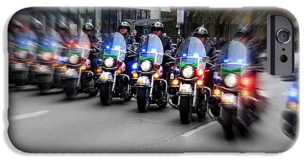 Police Art iPhone Cases - Motorcycle Charge iPhone Case by Brian Chase