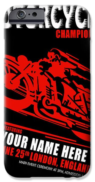 Customized iPhone Cases - Motorcycle Customized Poster 2 iPhone Case by Mark Rogan