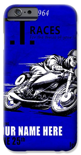 Customized iPhone Cases - Motorcycle Customized Poster 3 iPhone Case by Mark Rogan
