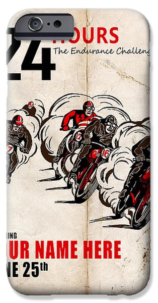 Customized iPhone Cases - Motorcycle Customized Poster 5 iPhone Case by Mark Rogan