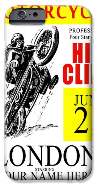 Customized iPhone Cases - Motorcycle Customized Poster 6 iPhone Case by Mark Rogan