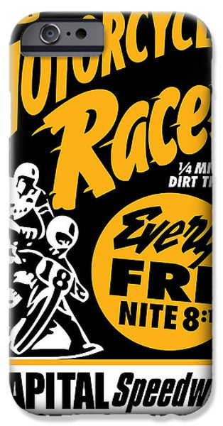 Vector Posters iPhone Cases - Motorcycle Races iPhone Case by Gary Grayson
