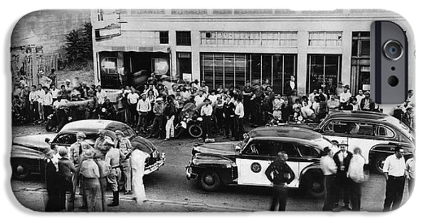 Police iPhone Cases - Motorcycle rally Hollister Calif July 7 1947 iPhone Case by California Views Mr Pat Hathaway Archives