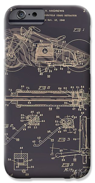 Drawing Of The Factory iPhone Cases - Motorcycle Stand Brown iPhone Case by Brian Lambert