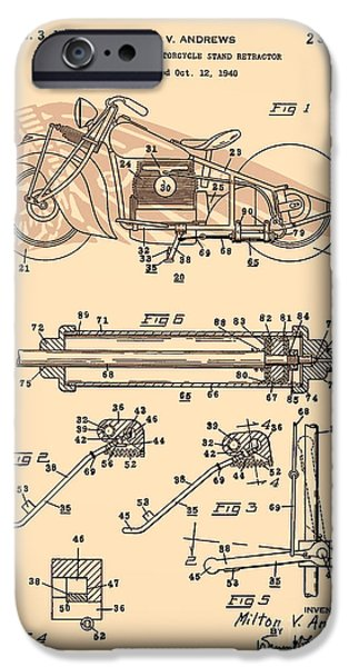 Drawing Of The Factory iPhone Cases - Motorcycle Stand red iPhone Case by Brian Lambert