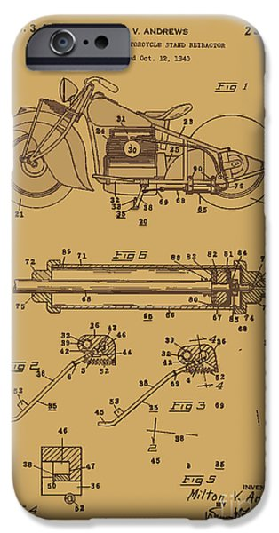 Drawing Of The Factory iPhone Cases - Motorcycle Stand Rust iPhone Case by Brian Lambert