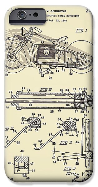 Drawing Of The Factory iPhone Cases - Motorcycle Stand Yellow iPhone Case by Brian Lambert
