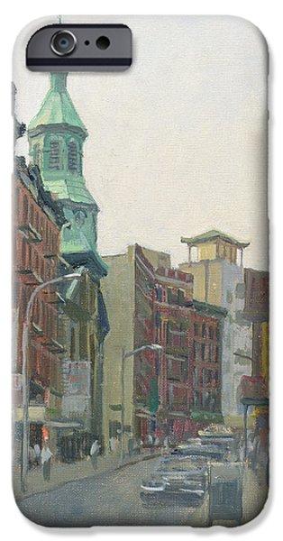 Urban Scenes iPhone Cases - Mott Street, New York, 1997 Oil On Canvas iPhone Case by Julian Barrow
