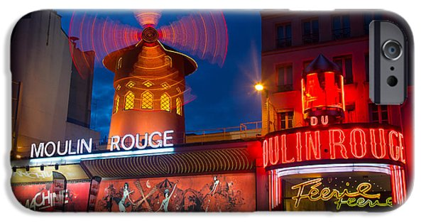 Europa iPhone Cases - Moulin Rouge en Soir iPhone Case by Inge Johnsson
