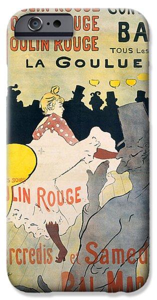Toulouse-lautrec Drawings iPhone Cases - Moulin Rouge. La Goulue iPhone Case by Henri de Toulouse-Lautrec