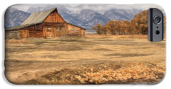Fall iPhone Cases - Moulton Barn 2- Grand Tetons iPhone Case by Donna Kennedy