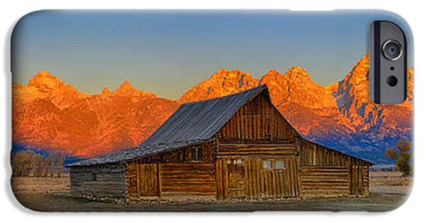 Old Barn iPhone Cases - Moulton Barn Alpenglow Panorama iPhone Case by Greg Norrell