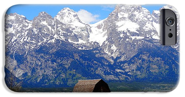 Landscape With Mountains iPhone Cases - Moulton Barn iPhone Case by Dan Sproul