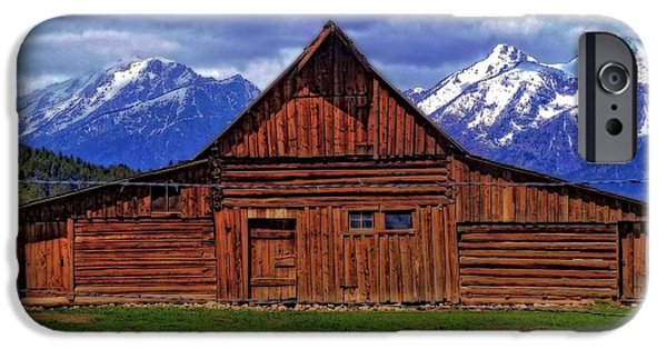 Barns In Snow iPhone Cases - Moulton Barn In Spring iPhone Case by Dan Sproul