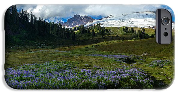 Meadow Photographs iPhone Cases - Mount Baker Lupine Meadows iPhone Case by Mike Reid