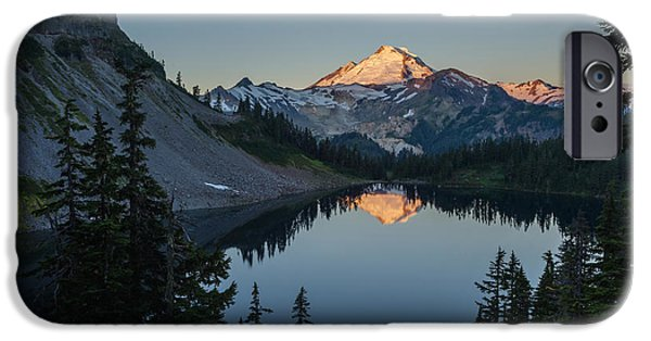 North Cascades iPhone Cases - Mount Baker Sunrise Reflection Serenity iPhone Case by Mike Reid