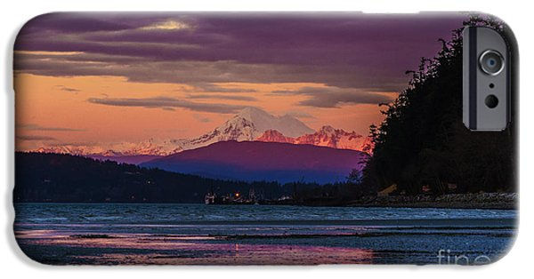 San Juan iPhone Cases - Mount Baker Tideflats Sunset Alpenglow Reflection iPhone Case by Mike Reid