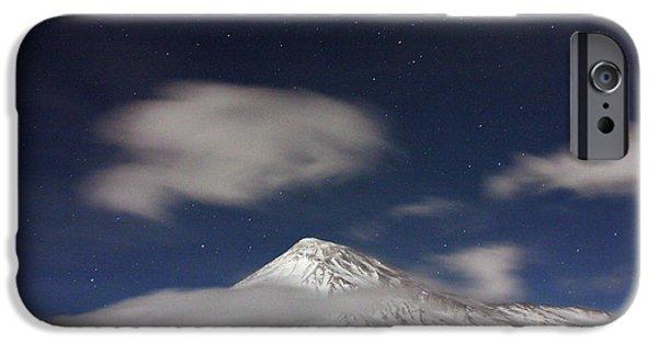 Snowy Night iPhone Cases - Mount Damavand iPhone Case by Babak Tafreshi