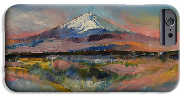 Pastel Paintings iPhone Cases - Mount Fuji iPhone Case by Michael Creese
