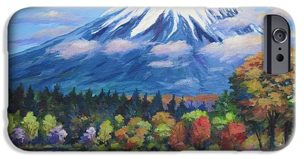 Phlox iPhone Cases - Mount Fuji Shibazakura iPhone Case by John Clark
