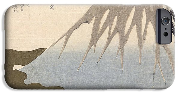 Color Drawings iPhone Cases - Mount Fuji Under the Snow iPhone Case by Toyota Hokkei