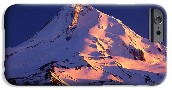 Winter Scene iPhone Cases - Mount Hood last Light iPhone Case by Darren  White