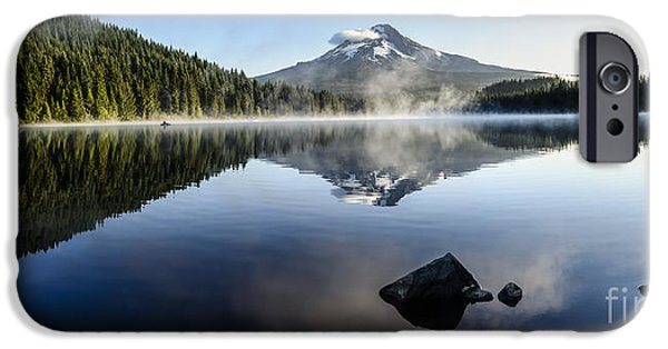 Mist iPhone Cases - Mount Hood reflected at Trillium Lake iPhone Case by Oscar Gutierrez