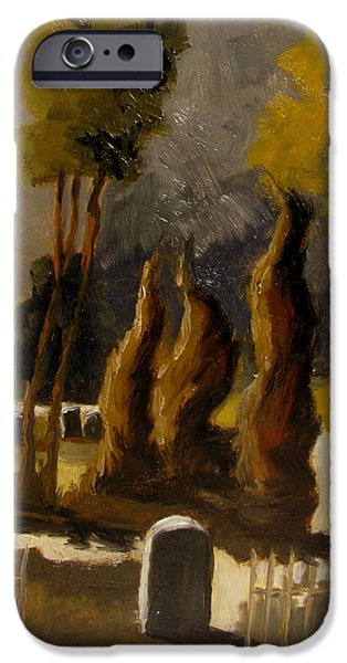 Cemetery Paintings iPhone Cases - Mount Hope work in progress iPhone Case by Charlie Spear