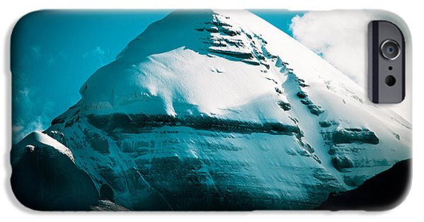 Snow Pyrography iPhone Cases - Mount Kailash Home of the Lord Shiva iPhone Case by Raimond Klavins