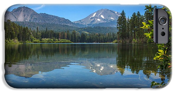 Mountain iPhone Cases - Mount Lassen From Manzanita Lake iPhone Case by James Eddy