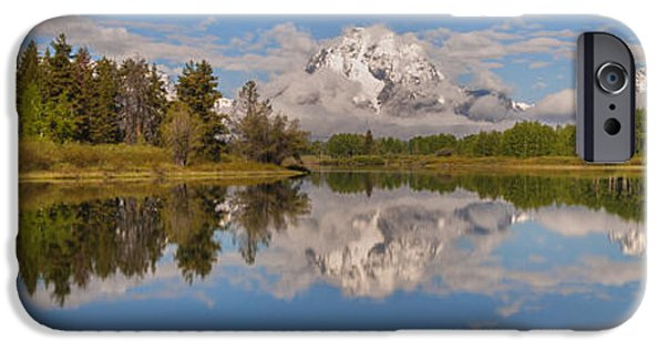 Moran iPhone Cases - Mount Moran On Oxbow Bend Panorama iPhone Case by Brian Harig