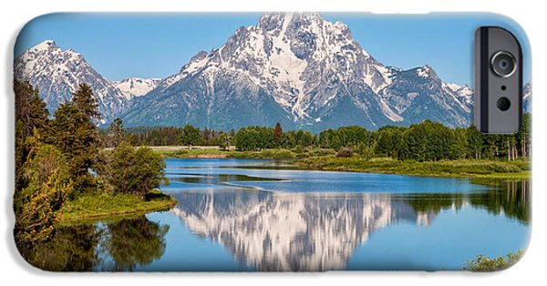 Reflecting Trees iPhone Cases - Mount Moran on Snake River Landscape iPhone Case by Brian Harig