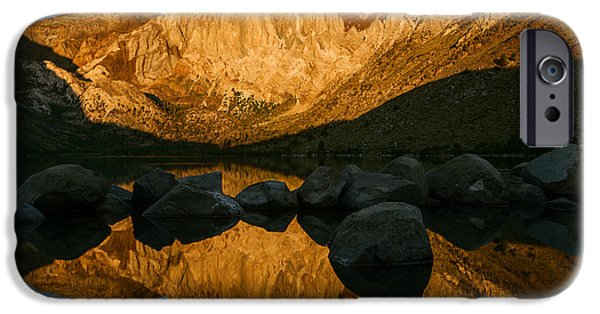 Reflections Of Sun In Water iPhone Cases - Mount Morrison Convict lake morning iPhone Case by Vishwanath Bhat