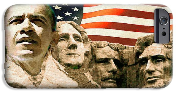 Obama Mixed Media iPhone Cases - Mount Obama with American Presidents - Digital Art iPhone Case by Peter Fine Art Gallery  - Paintings Photos Digital Art