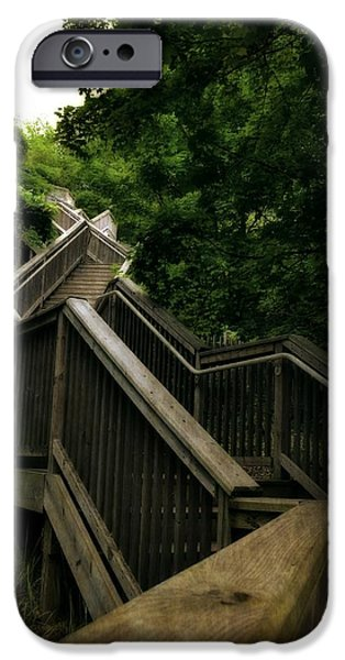 Michelle iPhone Cases - Mount Pisgah Stairs iPhone Case by Michelle Calkins
